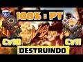 Ataque 100 pt cv10 destruindo cv11 - clash of clans