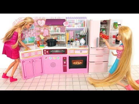 Barbie doll Japanese Kitchen Refrigerator Toy unboxing ثلاجة المطبخ باربي Barbie Cozinha Geladeira