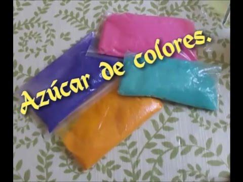 Como pintar azucar de colores y pegamento para paletas