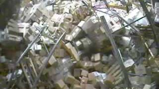Forklift accident brings down a warehouse in Russia