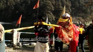 Annapurna yatra procession proceeds to Ganesh Temple in Dodital, Uttarakhand