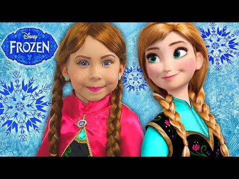 Xxx Mp4 FROZEN Anna Kids Makeup Alisa Play With GIANT DOLL Became A Disney Princes With Colours Paints 3gp Sex