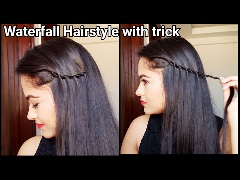 Easy Trick to Waterfall Hairstyle//hairstyles for medium to long hair//indian hairstyles for school