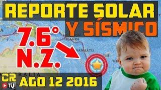 REPORTE SOLAR Y SISMICO 12 AGO 2016   M7.6   FUE EL HOYO CORONAL