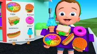 Little Baby Learning Snacks Food Names Eating at Pizza Hut - Preschool Kids Toddlers Activities Edu