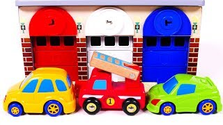 Learn Colors with Garage Parking Playset and Toy Car Vehicles for Children Kids