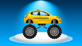 CAR Transformation Taxi to Taxi Monster Truck Cartoon