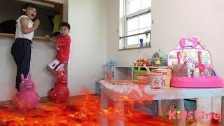 火事!!? ラーメン屋さんごっこ 火の止め忘れに注意!!? おままごと こうくんねみちゃん lava Ramen shop