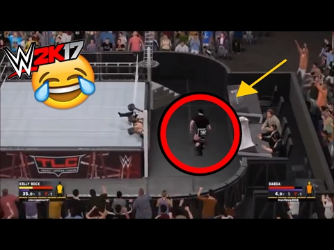 WWE 2K17 FUNNY FAILS AND GLITCHES #4 | STEEL CAGE GLITCHES