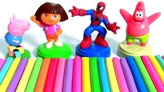 Aprenda Play Doh Cores com Pig George, Dora a Aventureira Homem-Aranha Bob Esponja Surpresas Brasil