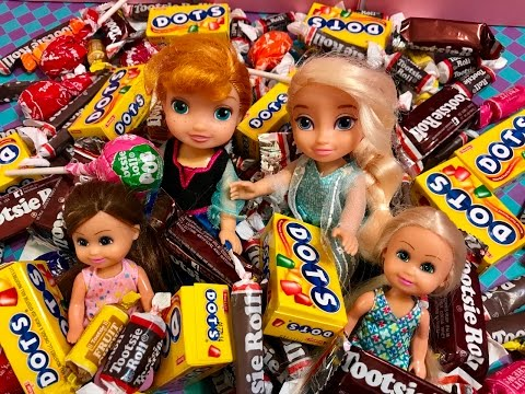 Barbie dolls! Anna Elsa toddlers! SICK from CANDY!