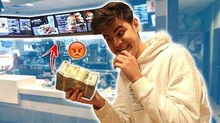 BUYING WHOLE MCDONALDS MENU WITH FAKE $100,000 PRANK! | David Vlas