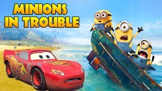 LIGHTNING MCQUEEN SAVES MINIONS IN TROUBLE w/ Spiderman and Hulk Funny Cartoon for Kids