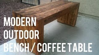DIY Modern Outdoor Bench/Coffee Table -- 2x4s only