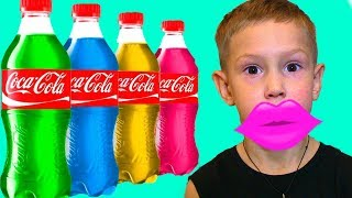 BAD KIDS Learn Colors with COCA COLA and Lipstick Colors Songs For Children Magic Coke!