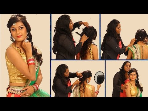 Xxx Mp4 Simple Indian Bridal Hairstyle Floral Curls Wedding Hairstyle For Saree Lehenga 3gp Sex