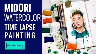 Time Lapse watercolour portrait painting on Midori 012 Sketch Book