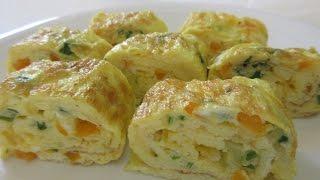 Omelette EGG-ROLL - How to make an OMELETTE ROLL Recipe