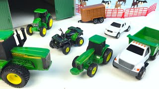 JOHN DEERE FARM TOY PLAYSET UNBOXING HORSES COWS VEHICLES ARTICULATED TRACTOR FORKLIFT