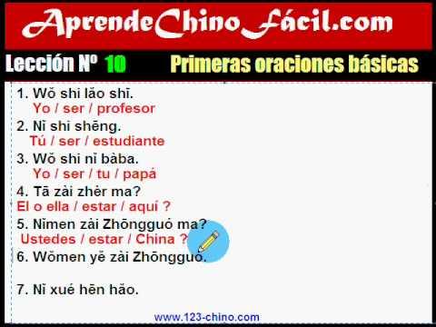 Aprende Chino Fácil. 10. Primeras Oraciones Básicas.