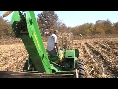 JOHN DEERE 227 CORN PICKER and 530 Tractor Picking Corn