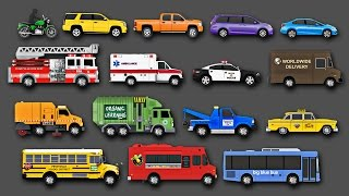 Learning Street Vehicles Names, Sounds, Colors for Kids - Learn Cars, Trucks, Fire Engines & More