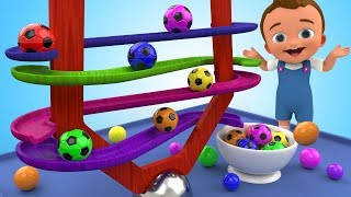 Learn Colors for Children with SoccerBalls Wooden BallSliderToy 3D Kids Toddler Learning Educational