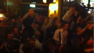 Chelsea - Barcelona , Torres goal celebration in Fulham Broadway Pub. champions league.