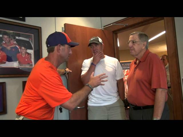 Dabo Swinney visits with Brent Musburger and Kirk Herbstreit