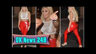 Chloe ferry leaves nothing to the imagination in red latex trousers and a totally see-through lace