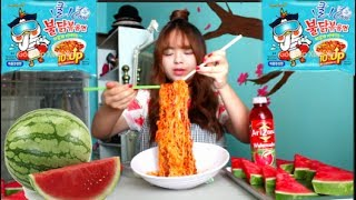 🍉Icy Spicy Noodles & Watermelon 🍉 | Mukbang (Ft. shein.com)