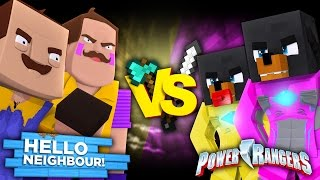 Minecraft POWER RANGERS VS HELLO NEIGHBOUR - BABY MAX BECOMES THE PINK POWER RANGER - Donut the Dog
