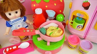 Baby doll kitchen food color change toys with play doh bay Doli play
