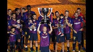 مراسيم تتويج برشلونة بلقب الدوري الاسباني -و ليلة وداعية انيستا -و رفع الكأس