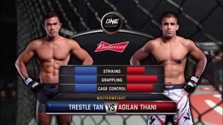 Trestle Tan vs Agilan Thani fight at kick boxing