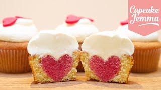 How to Bake a Heart Inside a Cupcake | Cupcake Jemma