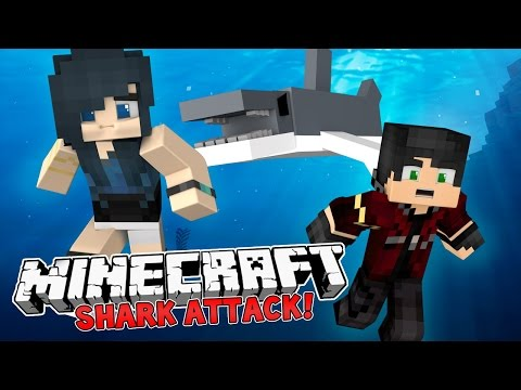 Minecraft Camping - THE SHARK ATTACK! (Minecraft Roleplay) #1
