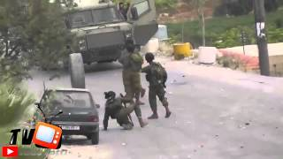 لحظة تصدي جندي اسرائيلي لاطار سيارة