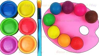 Learn Colors with Play Doh Paint Pallet Baby Finger Family Nursery Rhymes Fun & Creative for Kids