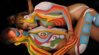 Body Painting 3 Nude Girls. Plus Size Beauty with Andy Golub and Model Society Magazine