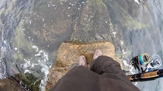 STRANDED!  The Tide Came Up and WE GOT STUCK! (Striper and Black Sea Bass Fishing)