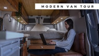 AMAZING Modern DIY Sprinter Conversion | Full-Time Instagram Adventure Vanlife | VAN TOUR