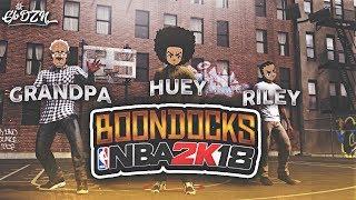 BOONDOCKS ON NBA 2K18 MYPARK 😱 HUEY, RILEY & GRANDPA ARE UNGUARDABLE   BROKEN ANKLES & CONTESTED 3S