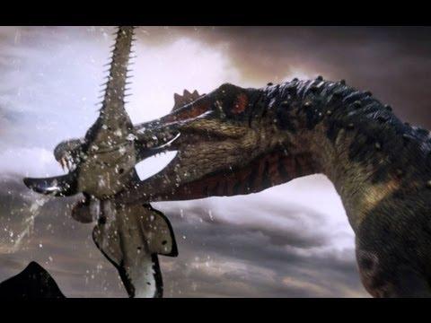 Spinosaurus fishes for prey Planet Dinosaur BBC