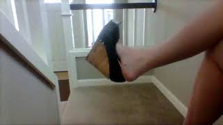 Candice Can Dangle Black Wedges (40 sec clip)