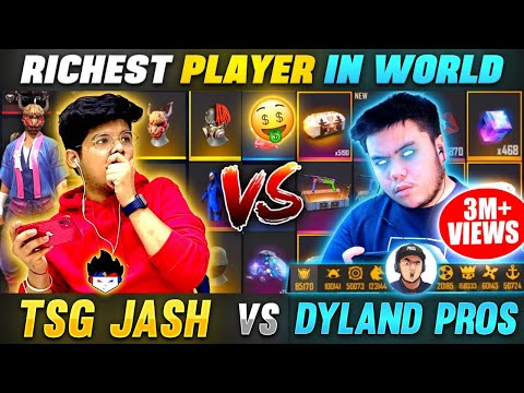 DYLAND PROS Collection😱Vs TSG Jash Collection Funniest Battle Richest Player In World Free Fire
