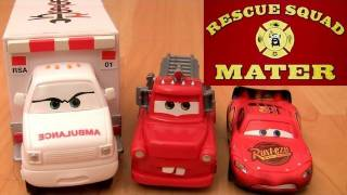 Rescue Squad Mater Track Playset CARS TOON Mater's tall tales Ambulance Review by Blucollection
