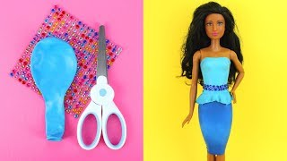 👗 DIY Barbie Dresses with Balloons Part 3 Making Easy No Sew Clothes for Barbies with Rhinestones