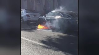 Video shows Tesla Model S bursting into flames