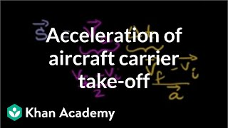 Acceleration of aircraft carrier take-off | One-dimensional motion | Physics | Khan Academy
